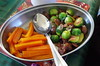 Carrots with sprouts and chestnuts