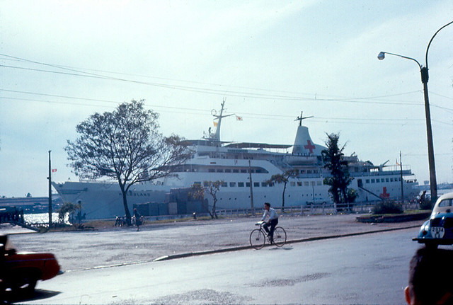 Hospital Ship Helgoland (Germany) Saigon River 1967 - Photo by eaindy