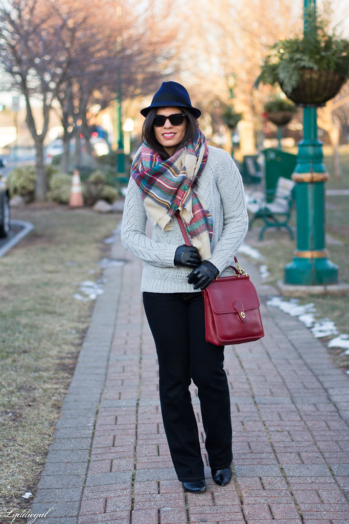 grey sweater, plaid scarf, wool fedora-1.jpg
