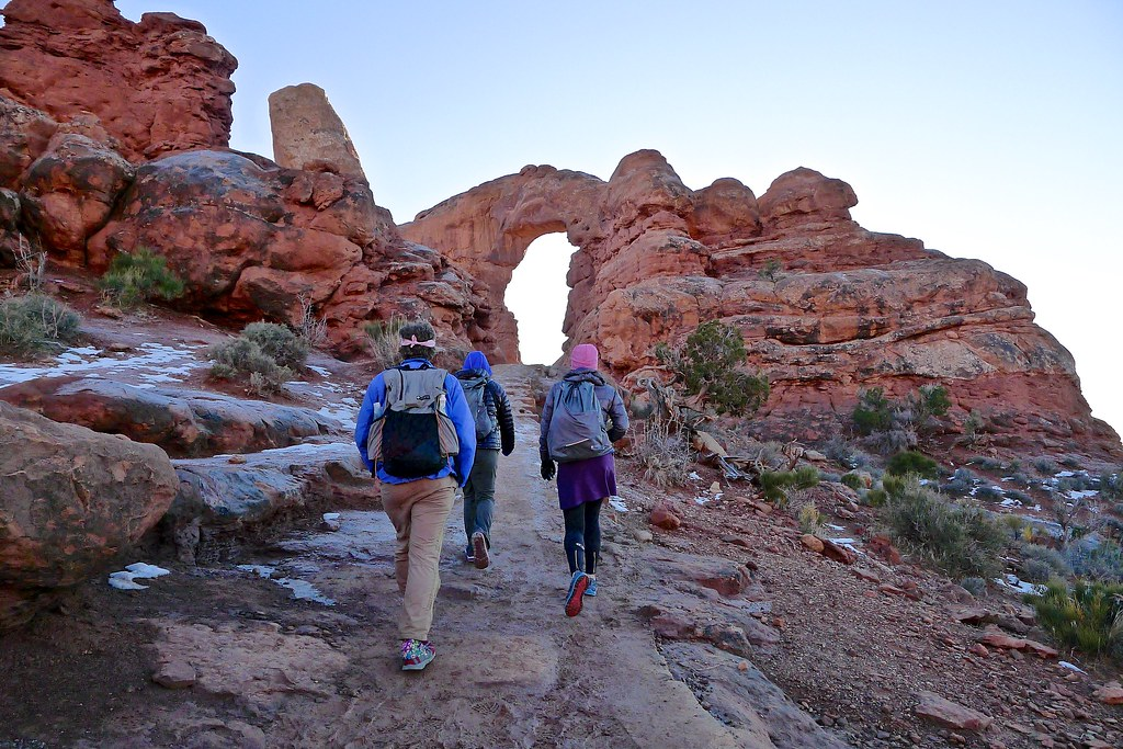 Guthook, Sirena, and Allison at Windows in Arches National Park