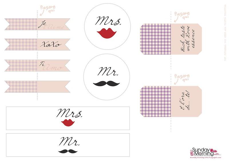Kit per la colazione a letto di San Valentino bandierine etichette