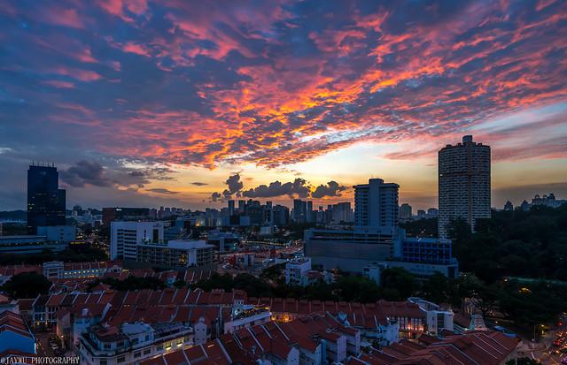 sunset at chinatown,singapore