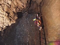 Helen climbing down Arete Pitch Image