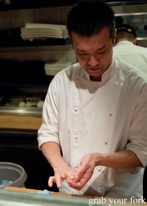 Sushi chef Takashi Sano making nigiri sushi at Sokyo at The Star, Pyrmont
