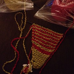 When you are given #pistachio and #red #yarn, you make a #christmas #Shawl. #knit