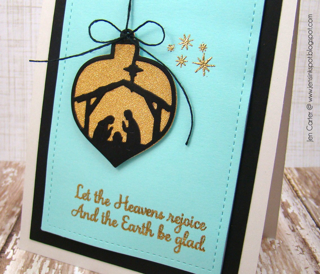 Jen Carter Frantic Stamper Let the Heavens Rejoice Card closeup