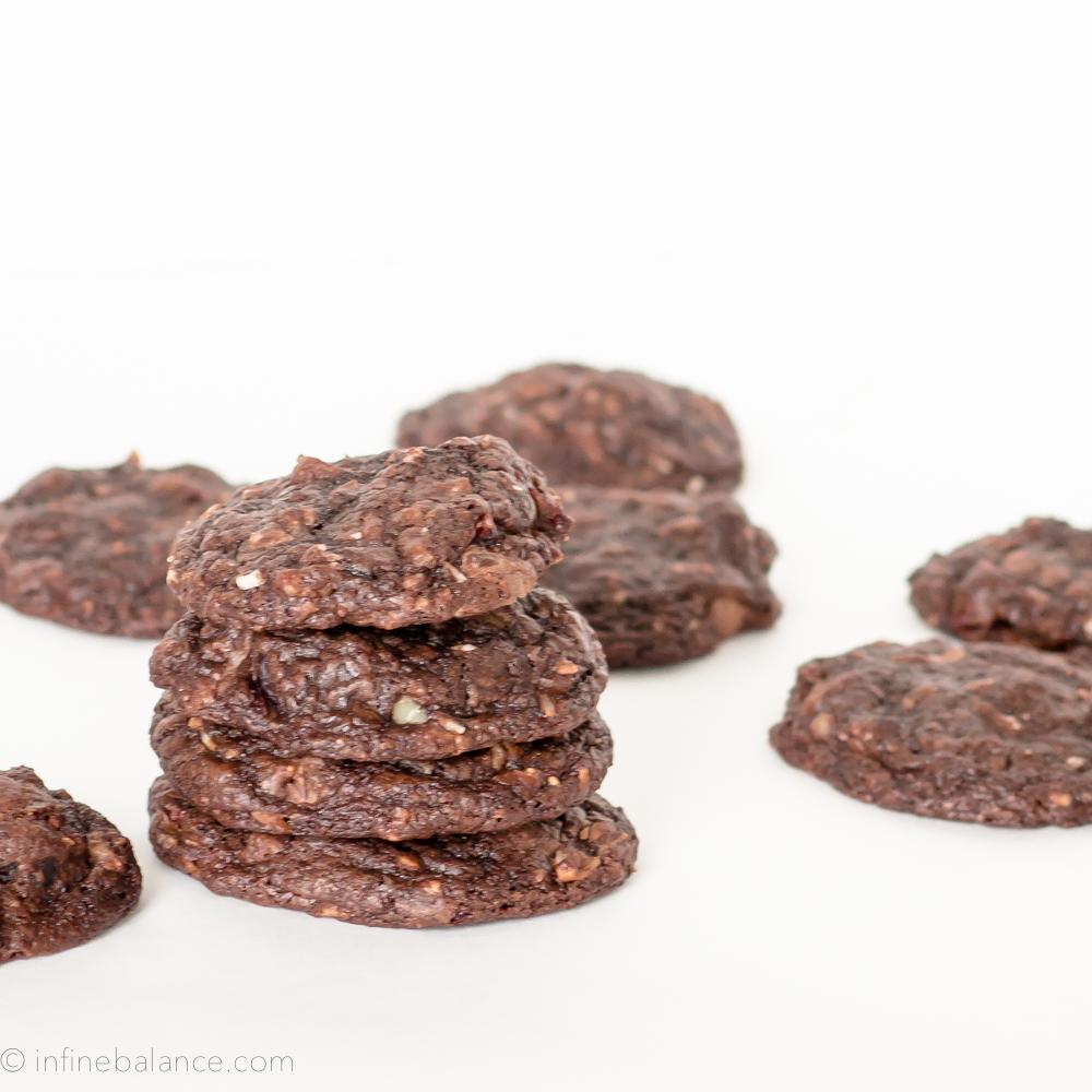 Over-stuffed Chocolate Fudge Cookies walnuts holiday fudge cranberries cookies coconut chocolate