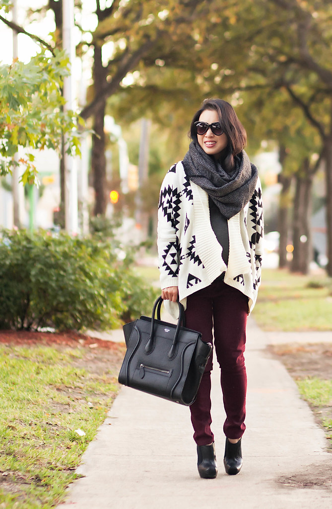 cute & little blog | petite fashion | maternity baby bump pregnant | herringbone infinity scarf, aztec cardigan sweater, burgundy pants, black booties, celine mini luggage | third trimester 28 weeks