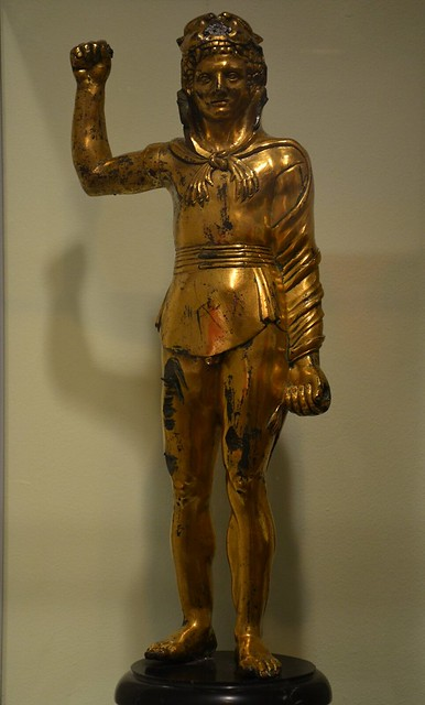 Gilded copper statuette of Hercules, intended as a portrait of Commodus?, 2nd century AD, said to be from Hadrian's Wall near Birdoswald, Roman Empire: Power & People, Leeds City Museum, UK