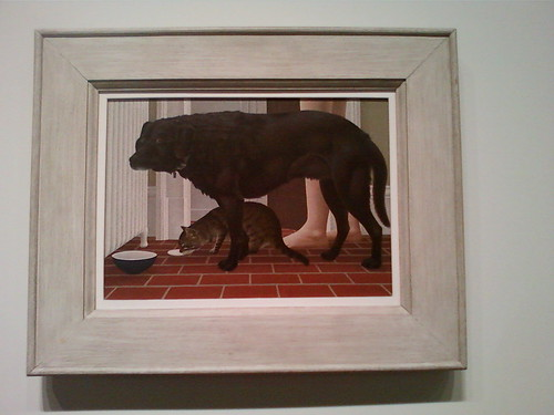 Colville's painting of a cat and dog at their dishes is quietly domestic.