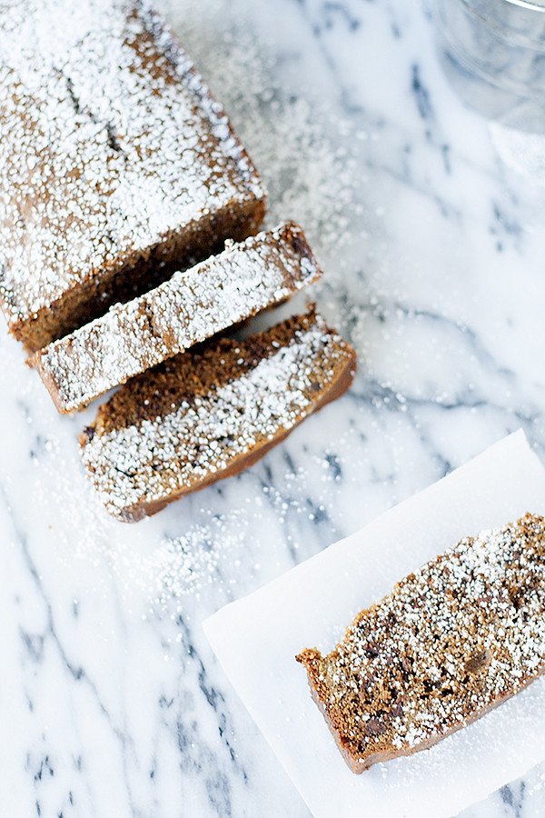 buttermilk gingerbread loaf with chocolate