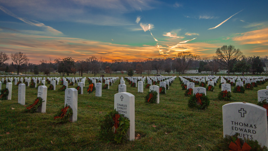 Wreaths Across America Sunset at Arlington National Cemetery