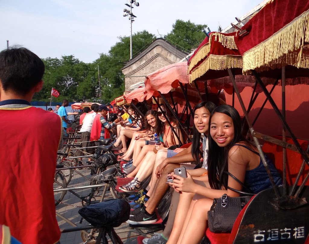 Chicago Youth Symphony Orchestra members on a rickshaw tour in Beijing