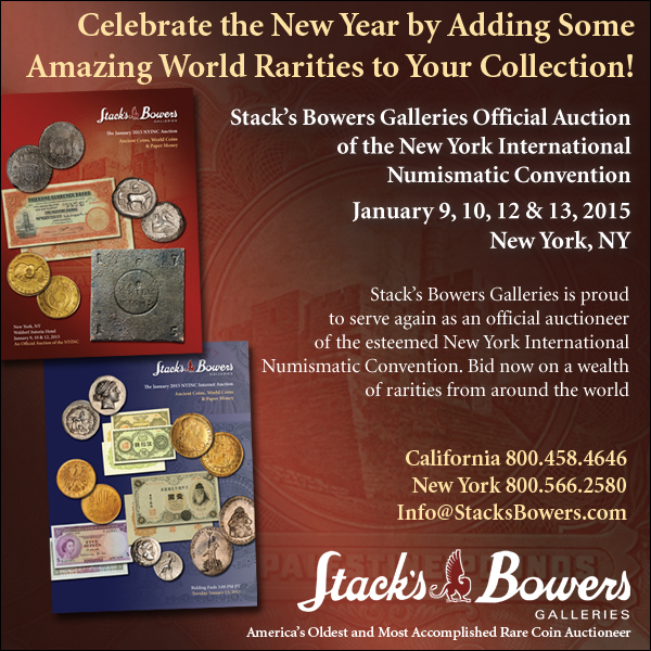 Stacks-Bowers E-Sylum ad 2014-12-17