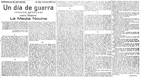 14l31 Imparcial 14 octubre 1916 Valle Inclán comienza publicar folletón sobre Gran Guerra Uti 485