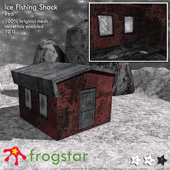 Frogstar - Ice Fishing Shack Poster (Red)