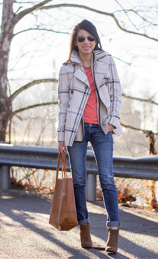 plaid patterned trench jacket, camel sweater, orange tee, cognac brown tote, brown suede ankle boots