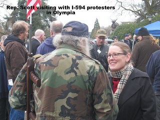 Rep. Scott visits with I-594 protester