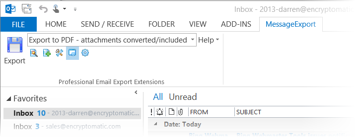 MessageExport software toolbar installed in Outlook 2013.