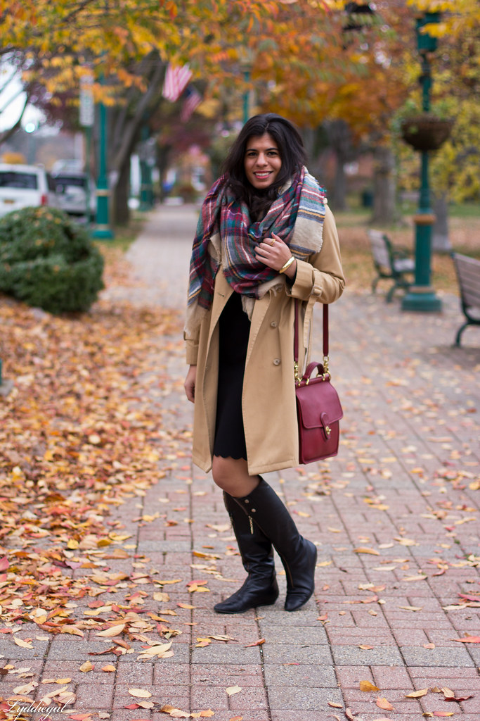 black dress, trench coat, blanket scarf-1.jpg