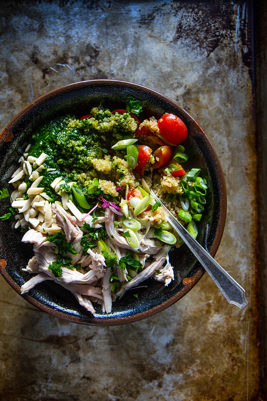 Quinoa, Chicken and Kale Pesto Bowl