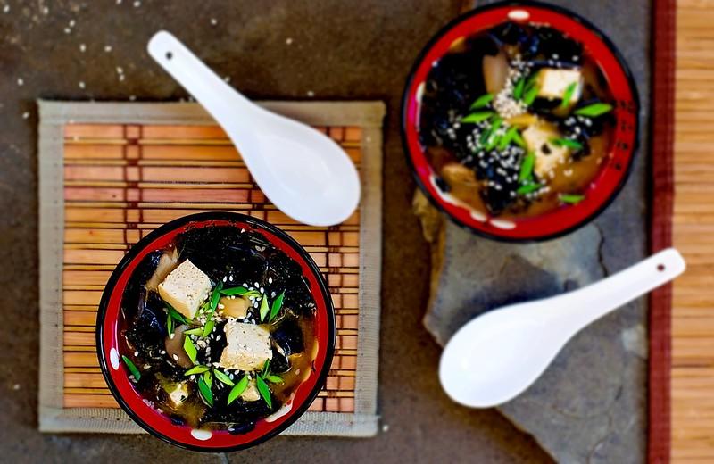 Japanese miso tofu, seaweed  soup