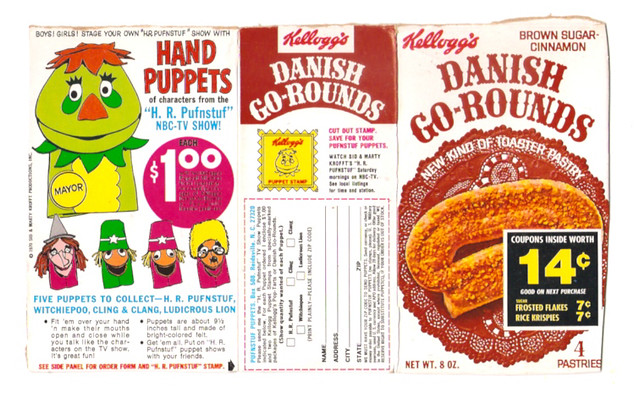 1970 Kellogg's Danish Go-Rounds Toaster Pastry Box H.R. Pufnstuf Puppets