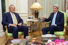 U.S. Secretary of State John Kerry meets with Foreign Minister Saud al-Faisal of Saudi Arabia in Paris, France, on November 20, 2014, before traveling to Vienna, Austria, to join negotiations with Iranian officials about the future of their nuclear program. [State Department photo/ Public Domain]