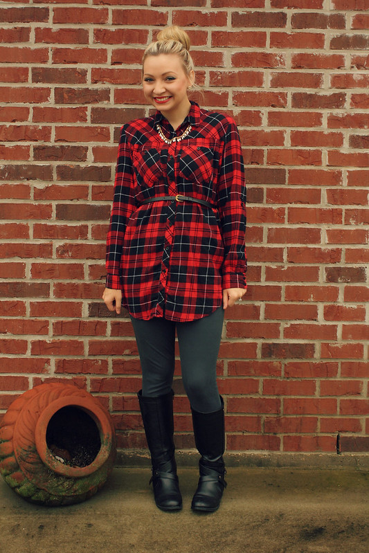 plaid dress + black boots