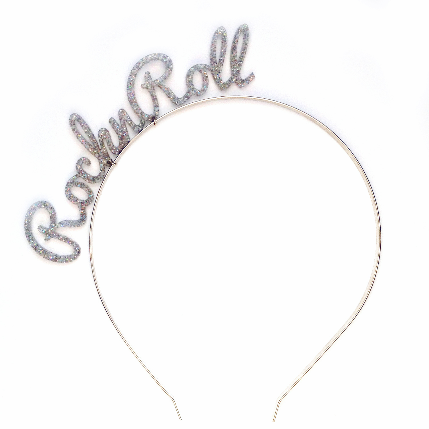 rock n roll silver glitter headband by rock n roll bride