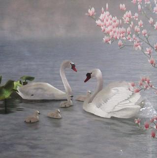 Swans - Chinese handmade silk embroidery art painting