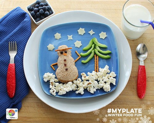 Edible MyPlate Snowman. Step 6.
