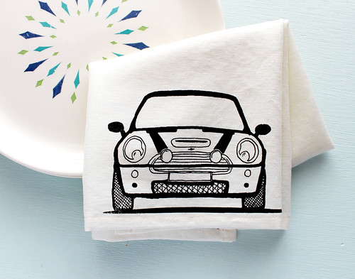 mini cooper tea towel, gifts for a mini owner | www.vitaminimodern.com