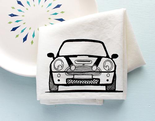 mini cooper tea towel, gifts for a mini owner   www.vitaminimodern.com
