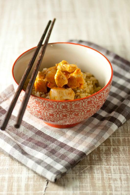 pollo agrodolce con riso integrale