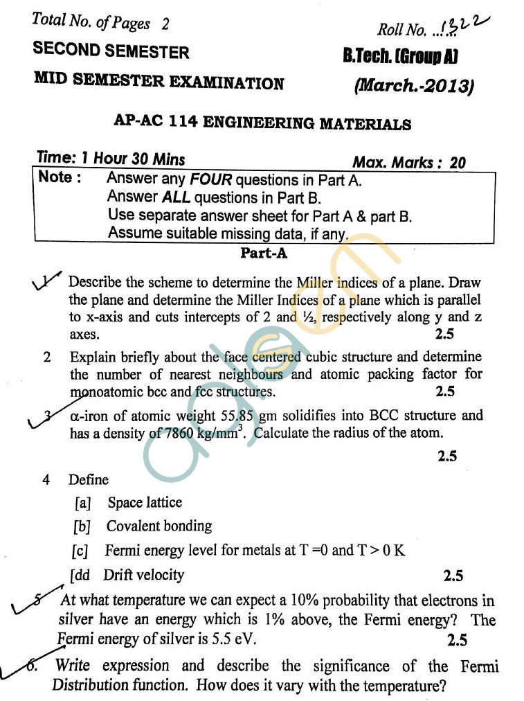 DTU: Question Papers 2013 – 2 Semester - Mid Sem - AP-AC 114