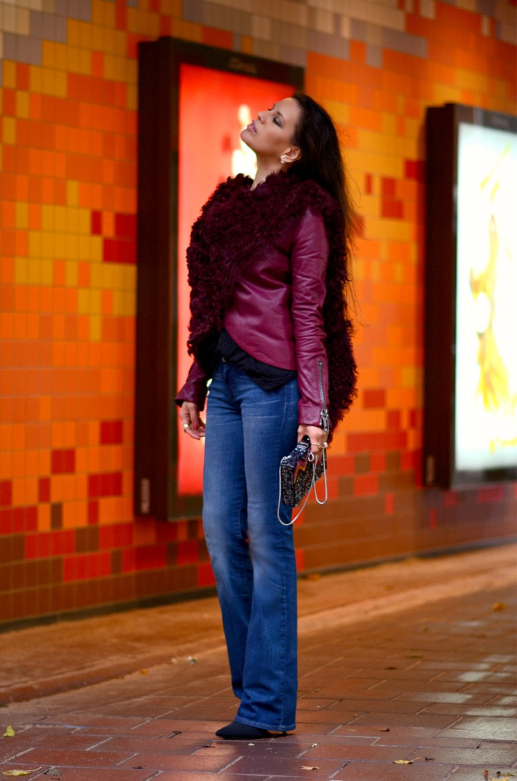 DSC_8822 Tony Cohen Jacket, Levi's Boot cut Jeans, Tamara Chloé, Burgundy Leather Jacket, Alexander Wang booties
