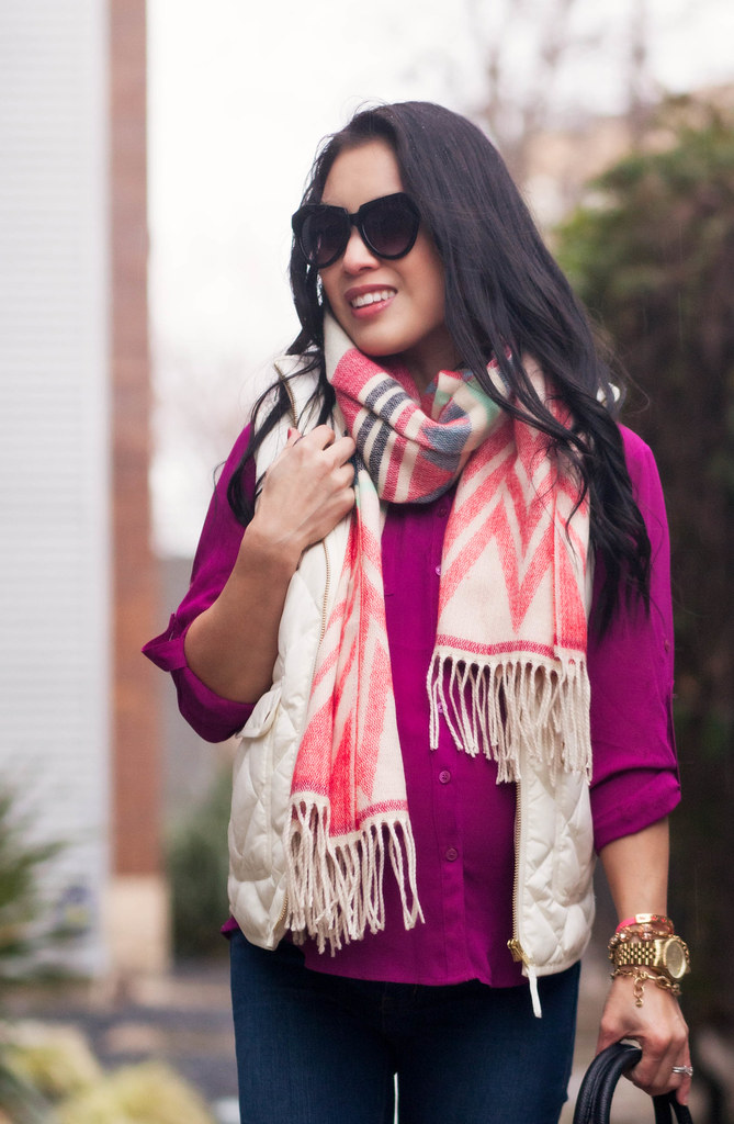 cute & little blog | petite fashion | maternity | sheinside geometric print tassel scarf, j. crew quilted excursion white puffer vest, radiant orchid shirt | fall outfit