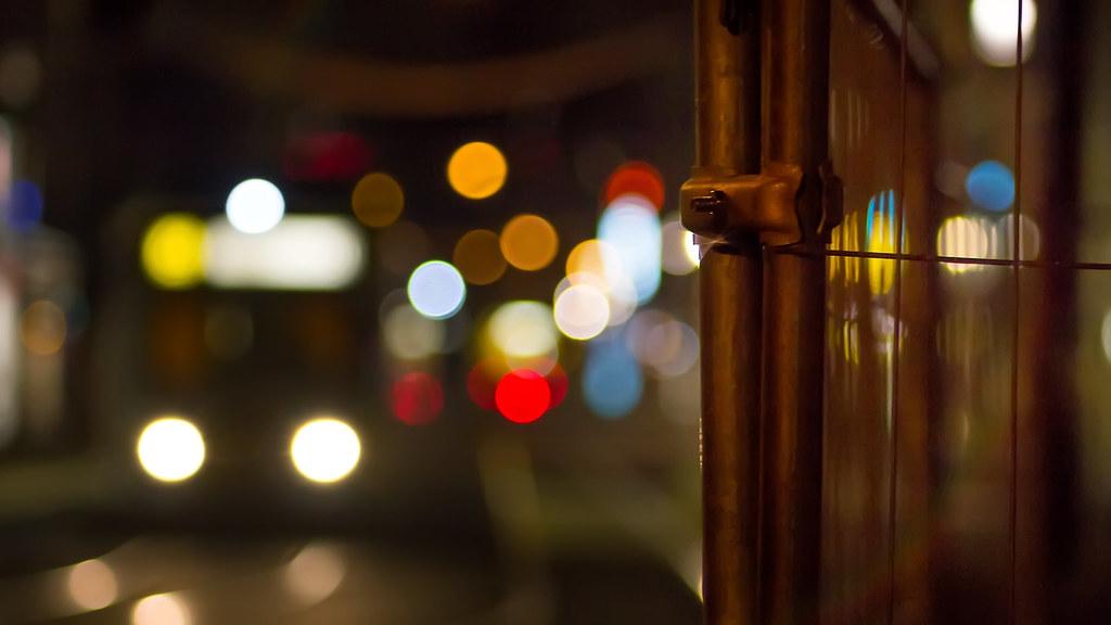 Tram traffic at night