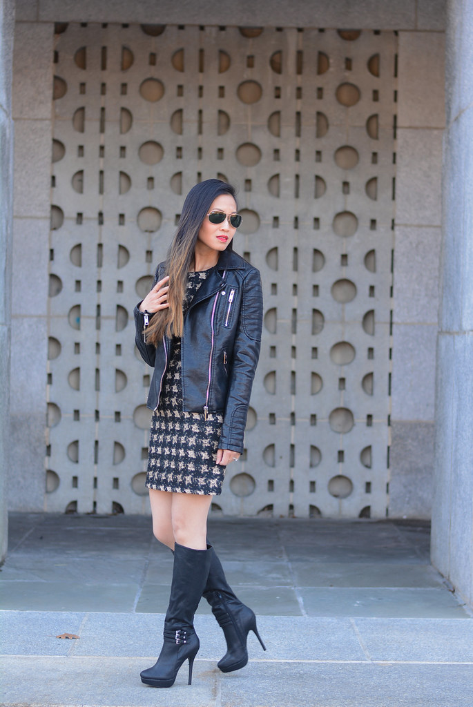 black moto leather jacket, winter houndstooth dress, boots outfit