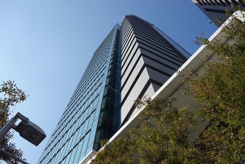 "Aoyama_7 青山にある高層ビルディングを撮影した写真。 ""青山OM-SQUARE""。 直下から見上げて撮影したもの。"