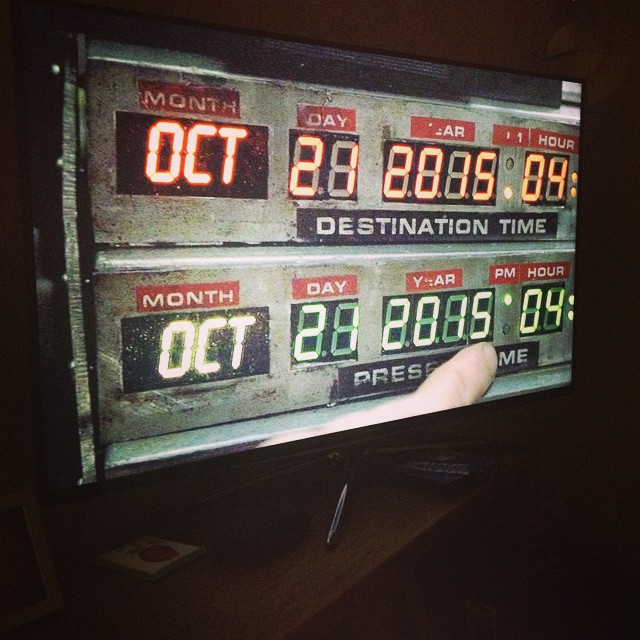 We're watching Back to the Future Part 2. Looks like we've about 10 months to figure out flying cars.