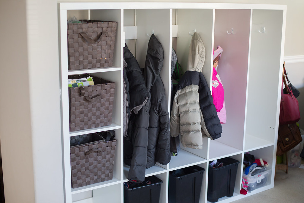 Homemade lockers for the kids with IKEA hack