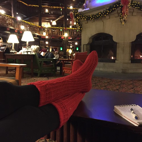 "Wearing her ""reading socks"" while at Chateau Montebello"