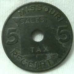Missouri 5 Mill sales tax token obverse