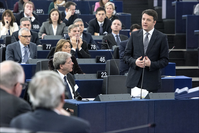 Matteo Renzi at the European Parliament delivered the closing speech of the semester of Italian Presidency of the Council