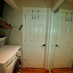 Dressing and storage area and washer dryer