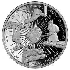Latvia Four Seasons Five Euro Coin obverse