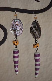Whimsical Striped Porcelain Bead With Abalone Shell Earring Set E-0149