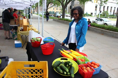 Cynthia Brathwaite a loyal customer attends Wayne State University Market Day to purchase D-Town Farm's fresh produce.